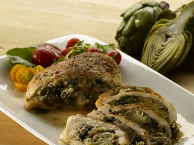 Artichoke Spinach Stuffed Chicken